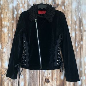 Tripp NYC Vintage Velvet Corset Fur Collar Jacket